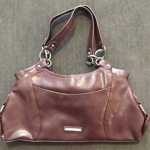 Nine West Brown Leather Handbag w/Silver Trim